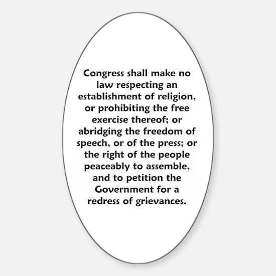 First Amendment Oval Decal