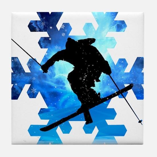 Winter Landscape Freestyle skier in S Tile Coaster