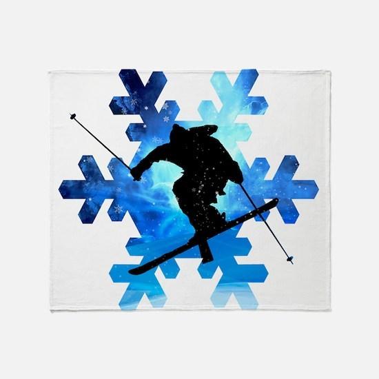 Winter Landscape Freestyle skier in Throw Blanket