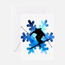 Winter Landscape Freestyle skier in Greeting Cards