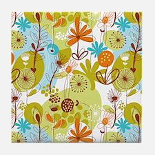 Garden Flowers Doodle Pattern Tile Coaster