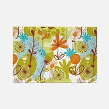 Garden Flowers Doodle Pattern Magnets