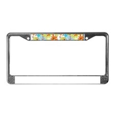 Garden Flowers Doodle Pattern License Plate Frame