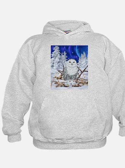 Snowy Owl Digital Art Hoodie