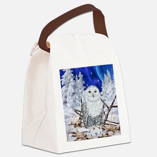 Unique Snowy owl Canvas Lunch Bag