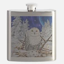 Snowy Owl Digital Art Flask