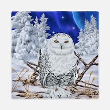 Snowy Owl Digital Art Queen Duvet