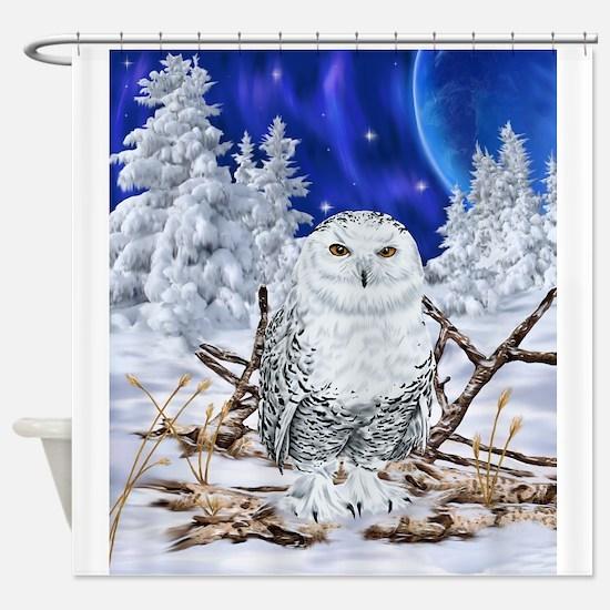 Snowy Owl Digital Art Shower Curtain