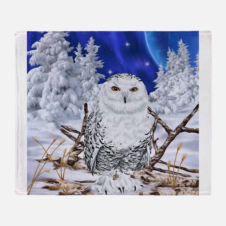 Snowy Owl Digital Art Throw Blanket