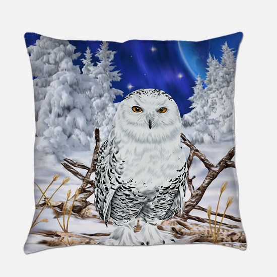 Snowy Owl Digital Art Everyday Pillow