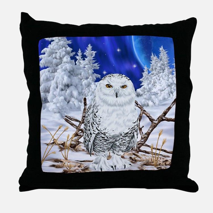 Snowy Owl Digital Art Throw Pillow