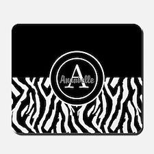 Black White Zebra Monogram Personalized Mousepad