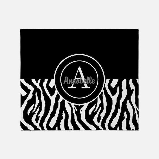 Black White Zebra Monogram Throw Blanket