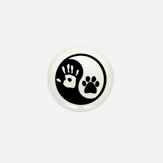 Yin Yang Hand & Paw Mini Button
