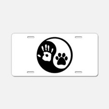 Yin Yang Hand & Paw Aluminum License Plate