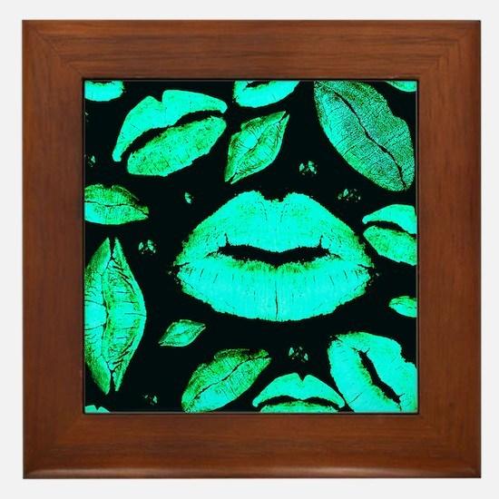 Kisses All Over (Green) Framed Tile