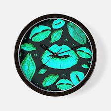 Kisses All Over (Green) Wall Clock