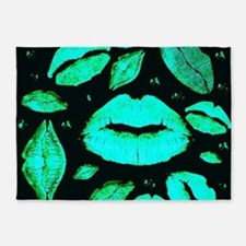 Kisses All Over (Green) 5'x7'Area Rug