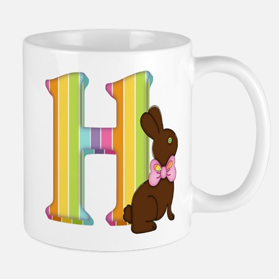 Letter H Chocolate Easter Bunny Mugs