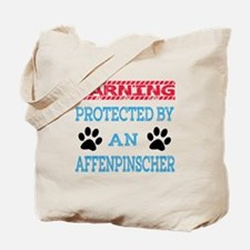 Warning Protected by an Affenpinscher Tote Bag