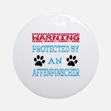 Warning Protected by an Affenpinsch Round Ornament
