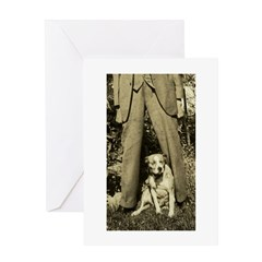 Tall Man, little dog on Greeting Card