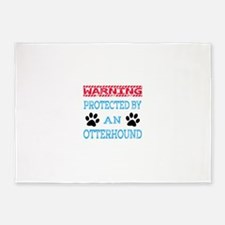 Warning Protected by an Otterhound 5'x7'Area Rug
