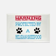 Warning Protected by a Rectangle Magnet (10 pack)