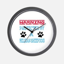 Warning Protected by a Belgian Sheepdog Wall Clock