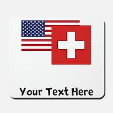 American And Swiss Flag Mousepad