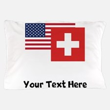 American And Swiss Flag Pillow Case