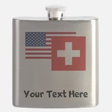 American And Swiss Flag Flask