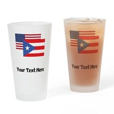 American And Puerto Rican Flag Drinking Glass