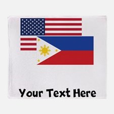 American And Filipino Flag Throw Blanket