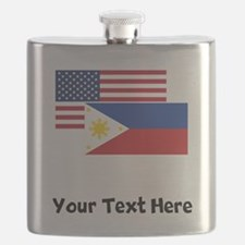 American And Filipino Flag Flask
