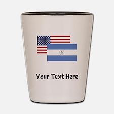 American And Nicaraguan Flag Shot Glass