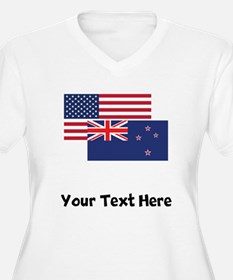 American And New Zealand Flag Plus Size T-Shirt