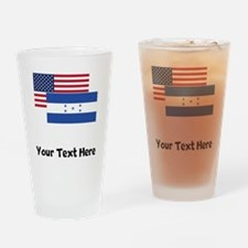 American And Honduran Flag Drinking Glass