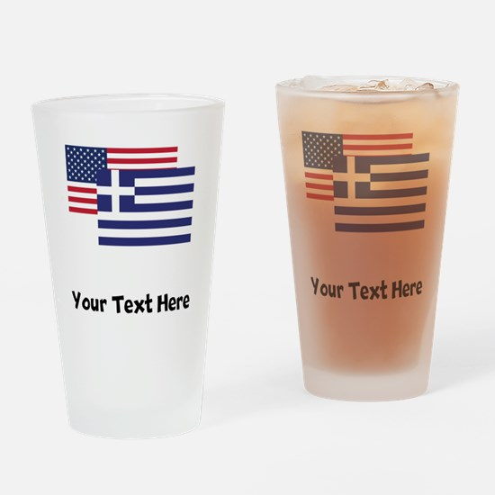 American And Greek Flag Drinking Glass