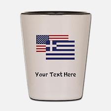 American And Greek Flag Shot Glass