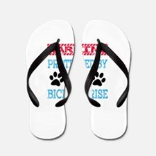 Warning Protected by a Bichon Frise Flip Flops