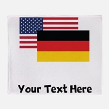 American And German Flag Throw Blanket