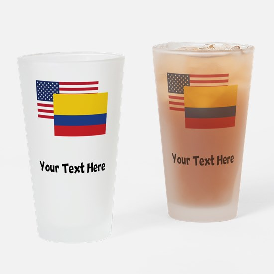 American And Colombian Flag Drinking Glass