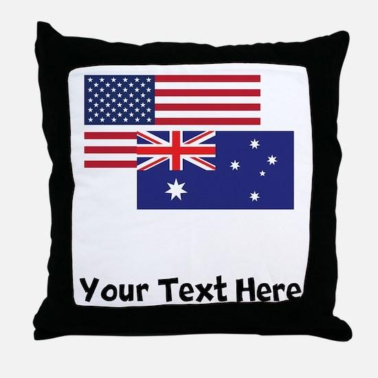 American And Australian Flag Throw Pillow