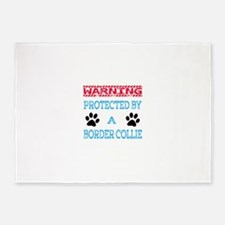 Warning Protected by a Border Colli 5'x7'Area Rug