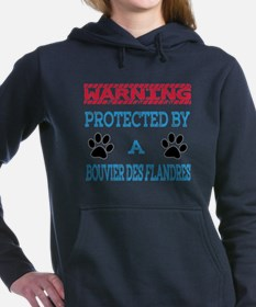 Warning Protected by a B Women's Hooded Sweatshirt