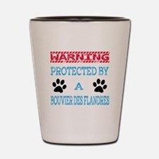Warning Protected by a Bouvier Des Flan Shot Glass