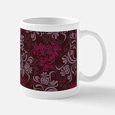 Burgundy Red Floral Damask Mugs