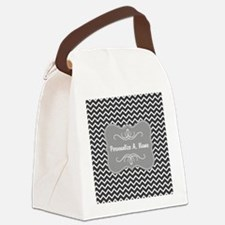 Gray and Charcoal Modern Chevron Canvas Lunch Bag