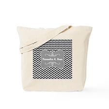 Gray and Charcoal Modern Chevron Custom N Tote Bag